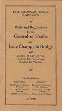 1929 LAKE CHAMPLAIN BRIDGE COMMISSION Traffic Control Rules & Regulations Bklt
