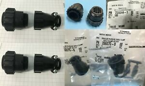 (2 SETS) AMPHENOL * 206044-1 and * 206070-8 * 14 PIN Plug *w/ Cable Clamp **NEW