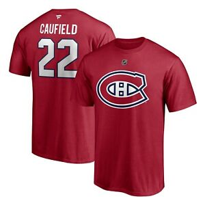 Men's Montreal Canadiens Cole Caufield Red Authentic Name Number T Shirt