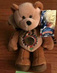 Limited Treasures Coin Bear Sacagawea & Pomp 2001 w/ tag Collectible Rare