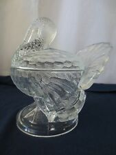 Vtg 1940's  L E SMITH Depression Glass Clear TURKEY Candy Relish Condiment Dish