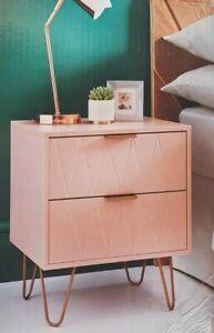 Loft Studio Bedside Tables 2 Drawer Gold Legs Side Table Bedroom Furniture Blush