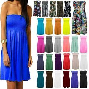 Womens Ladies Strapless Sheering Boob Tube Gather Bandeau Top Summer Mini Dress