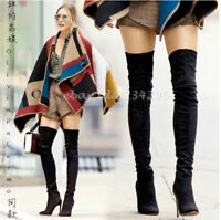 Wildleder Overkneestiefel Damen Stilettoabsatz Boots Europa Stiefel Gr34-45 Spit