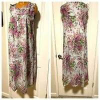 VTG 90'S VERMONT COUNTRY STORE PURPLE FLORAL COTTON PRAIRIE NIGHTGOWN SZ M