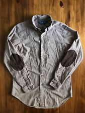 Ralph Lauren Elbow Patch Casual Button Down Shirt Men's Small Brown Check Good