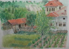 1943 Impressionist watercolor drawing village landscape signed