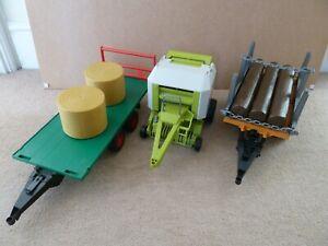 Bruder farm / logging trailer Claas 250 round hay baler 1:16 bales logs job lot