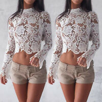 New Summer Women Long Sleeve Elegant Crochet Lace Crop Top Hollow Out Tank Tops