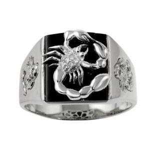 Men's Sterling Silver Square Shape Scorpio Design Ring w/ Cubic Zirconia Stones