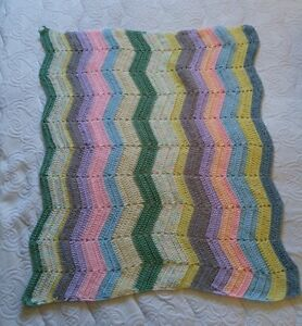 "Handmade Multi-Colored Crochet Baby Afghan 35"" x 38"""