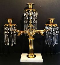 Crystal pendant girandole.  Two arm Liberace style candelabra.  Gold & marble.