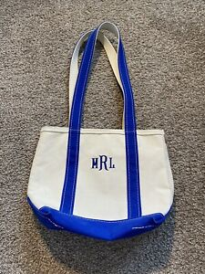 Vintage LL Bean Small Boat And Tote Bag Blue and Cream