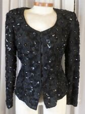 Vintage Black 12 Beads Sequins  Lady Woman Blouse Large L Formal Evening Top Fay
