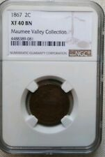 Two Cent Piece U.S coin  NGC 1867 XF40 - Free Shipping