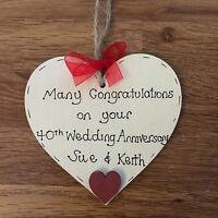 personalised ruby/40th wedding anniversary wooden heart gift