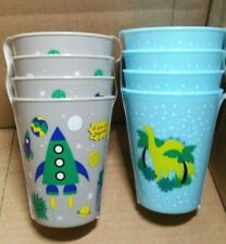 """Blue & Grey Plastic Child's Cup 4"""" Tall Kids Children  ( Lot of 8 Cups )"""