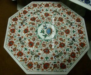 """36""""x36"""" White Marble Dining Table Top Parrot Carnelian Malachite Home Decor Gift"""