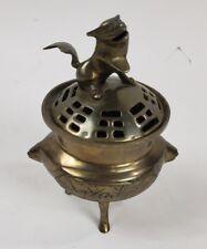 Vintage Antique Bronze Chinese Incense Burner Foo Dog
