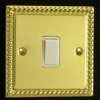 Varilight 1 Gang 1 or 2 Way 10A White Rocker Light Switch Georgian Brass