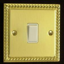 Varilight 1 Gang 1 or 2 Way 10A White Rocker Light Switch Georgian Brass