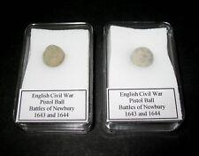 English Civil War pistol ball Battle of Newbury 1643, 1644 in display case