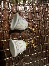 Avon Porcelain Dangle Christmas Bell Pearced Earrings