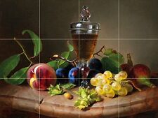 glass of wine and fruit Tile Mural Kitchen Bathroom Backsplash Ceramic 17x12.75