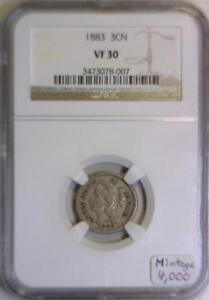 1883 Three Cent Nickel NGC VF-30; Mintage 4,000