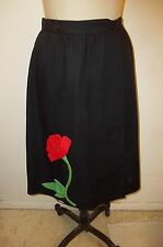 Rose Applique Vintage CATHERINE CARR Black-Red-Green-White Wrap Midi Skirt  M