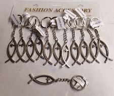Fish Key Chain. Cross Key Chain. Set Of 12 New Silver Wholesale. USA Shipper
