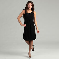 New Live A Little Women's Pleated Front Jumper Dress -BLACK-Medium