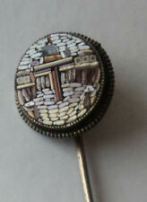 Vintage Silver Micro Mosaic Stick Pin - St Peters Square Vatican Rome c.1890