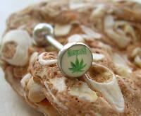 "Pot Leaf  LOGO Tongue Barbell 14g 5/8"""