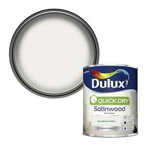 Dulux Quick Dry Satinwood Paint For Wood And Metal - Pure Brilliant White 750Ml