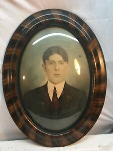 Vtg 1930's Tiger Stripe Oval Frame Man  Portrait Picture  Convex Glass