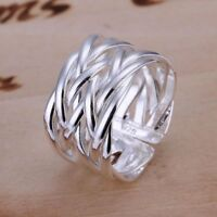 Silberring Schlicht Mehrreihig Vintage Breit Ring Silber 925 Verstellbar Neu