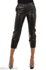 TWISTY PARALLEL UNIVERSE Nw Woman Black LEATHER Capri Cropped Pants Trouser Sz S