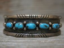 Old Navajo Native American Vintage Fox Turquoise Sterling Silver Cuff Bracelet