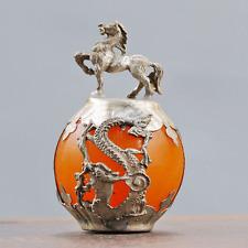 Collectable Beeswax Armor Tibetan Silver Hand-carve Zodiac statue -- Horse