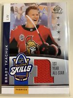 2020-21 BRADY TKACHUK UD SP GAME USED ALL-STAR SKILLS 1ST YEAR JERSEY RELIC!!