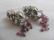 Pink tourmaline sterling silver dangling pendant earrings Victorian. tbj03142