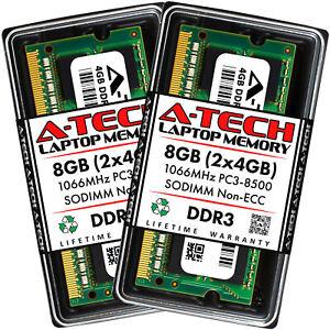 8GB KIT 2 x 4GB SODIMM DDR3 NON-ECC PC3-8500 1066MHz 1066 MHz DDR-3 Ram Memory