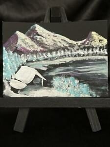 Original ACEO Home By The Frozen Lake Medium Acrylic on Paper Signed By Artist