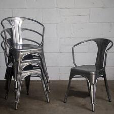 4 X Steel Metal Industrial Dining Chair Kitchen Bistro Cafe Chair Vintage Seat