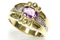 0.81 ct tw Natural Purple Amethyst & Diamond 14k Yellow Gold Cocktail Ring