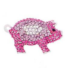 New Cute Silver Tone Pave Crystal Pink Pig Piggy Brooch in Gift Box