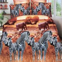 3D Zebra Elephant Duvet Quilt Cover Pillowcase Bed Set Queen Size L