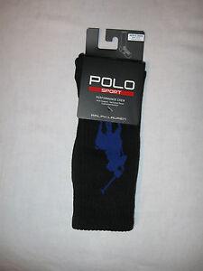 POLO Ralph Lauren Sport Performance Crew Socks NWT Black with Large Blue Pony