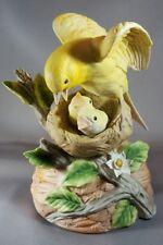 Gorham Bisque Porcelain Yellow Bird Feeding Baby Bird in Nest Figurine Music Box